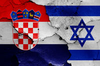 flags of Croatia and Israel painted on cracked wall