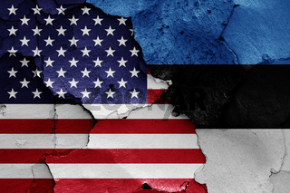 flags of USA and Estonia painted on cracked wall