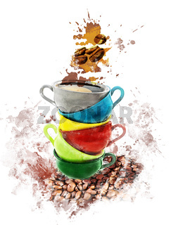 Watercolor Image Of Coffee Cups