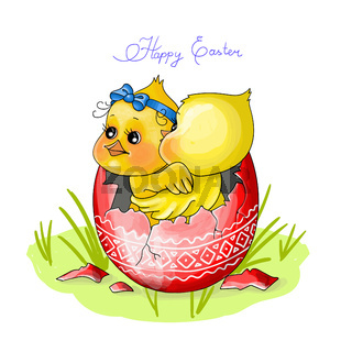 vector illustration Happy Easter.two chicken sit in a red egg