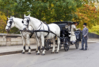 Horse Carriage with old fashioned dressed couple in love