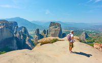 Tourist at view point in Meteora