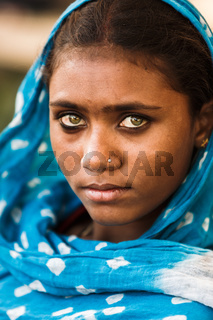 Young indian woman with her traditional scarf,Pushkar,India.