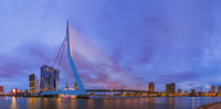 Erasmus bridge and Rotterdam cityscape - Netherlands