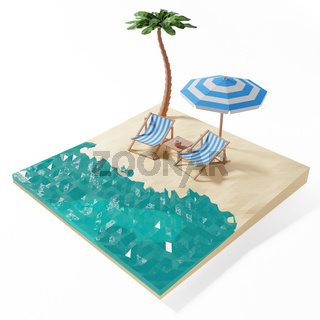 3D Render of beach with chairs and umbrella and cut of water
