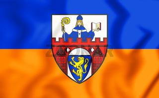 3D Flag of Siegen (North Rhine-Westphalia), Germany. 3D Illustration.