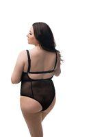 Fat brunette in black silk body isoalted rearview