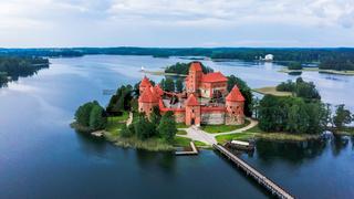 Trakai Island Castle in Lake Galve. Drone View
