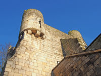 a close up of a corner turrets on bootham Bar the 11 century gatehouse and north western entrance to the city of york