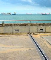 Singapore harbor. Industrial cargo ships