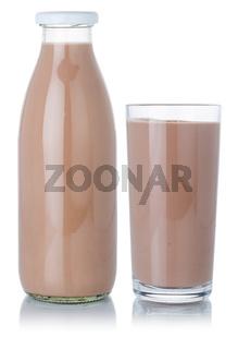 Chocolate milk shake milkshake glass and bottle isolated on white