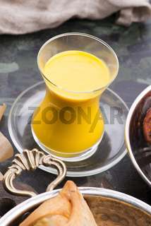 Mango Lassi, yogurt or smoothie. Healthy probiotic Indian popular summer drink