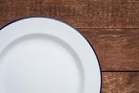 empty white metal enamel plate