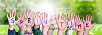Children Hands Building Word Springtime, Grass Meadow