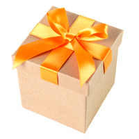 Geschenkbox mit Schleife isoliert vor weiß