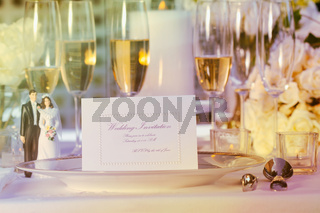 Wedding note card on plate