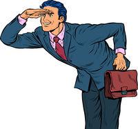 The businessman looks ahead