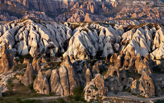 View of Cappadocia valley at spring sunset