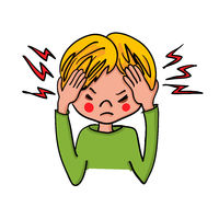 Boy showing symptoms of a headache - hand-drawn vector illustration
