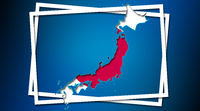 Map of Japan land border with flag in white frames