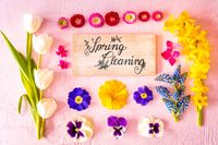 Spring Flat Lay, Flowers, Sign, Calligraphy Spring Cleaning