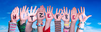 Children Hands Building Hitzefrei Means Free Due To Excessive Heat, Blue Sky