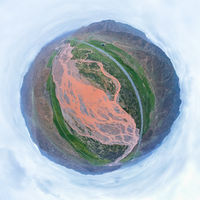 little planet image of xiangride river landscape