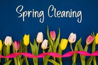 Colorful Tulip, Text Spring Cleaning, Ribbon, Blue Background