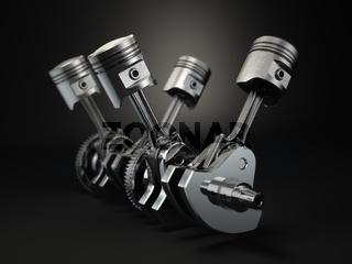 V4 engine pistons and cog on black background.