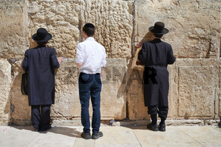 Jerusalem Israel. Orthodox jews praying at the wailing wall