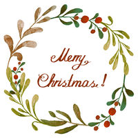 Merry Christmas watercolor background with leaves and wild berries. Geometric frame
