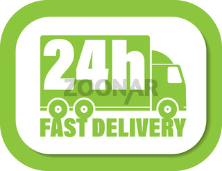 24h delivery icon with delivery truck