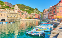 Harbour with boats and waterfront in Vernazza