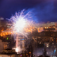 Holiday fireworks in a city