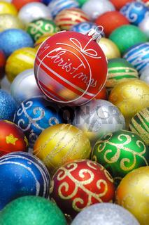 group of christmas balls