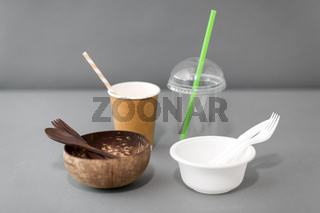 close up of eco friendly and plastic tableware