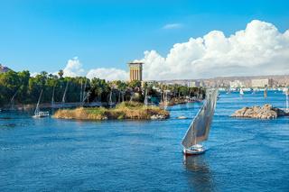 Saiboats in Aswan on Nile