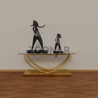 Konsolentisch mit 2 schmiedeeisernen Figuren