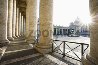 St Peter`s Basilica from Bernini`s Colonnade