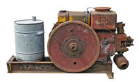 Retro  small  tractors  diesel engine  whith  wheel isolated