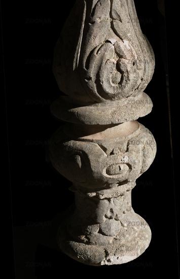Decorated stone pillar