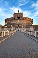Castel Sant'Angelo (Saint Angel Castle) in Rome (Roma), Italy. Historic monument with nobody at sunrise.