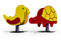 Yellow chicken and red turtle on spring for children 3d render on white background with shadow