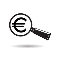 Sign euro with magnifying glass. Search or check financial stability.