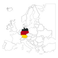 Detailed Germany silhouette with national flag on contour europe map on white
