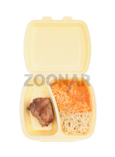 Chicken with pasta in food container