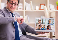 Concept of remote video conferencing during pandemic