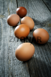 Eggs on an old rural table