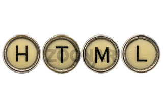 HTML (hyper text markup language) acronym in typewriter keys