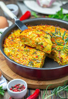 Vegetable Kugel. Dish of Jewish cuisine.